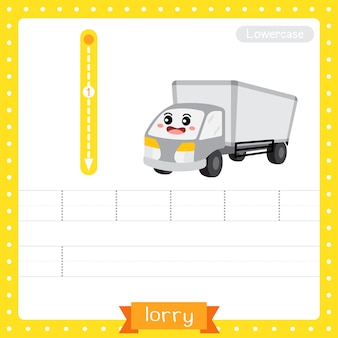 Letter l lowercase tracing practice worksheet. lorry