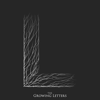 枝またはひびの入ったアルファベットの文字l。
