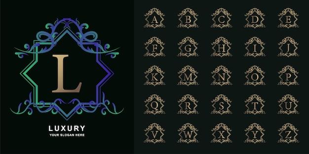 편지 l 또는 럭셔리 장식 꽃 프레임 황금 로고 템플릿 컬렉션 초기 알파벳.