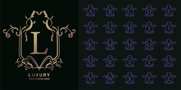 편지 l 또는 고급 장식 꽃 로고 템플릿 컬렉션 초기 알파벳