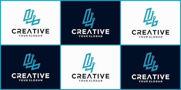 Буква l tech логотип, футуристический шаблон логотипа синего цвета, бизнес и технологический логотип, буква l tech