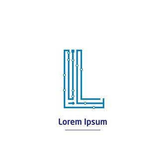 回路線記号付きの文字lテクノロジーロゴ