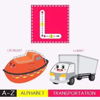 Letter l uppercase tracing transportations vocabulary