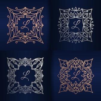 花のフレームのロゴのテンプレートと文字l