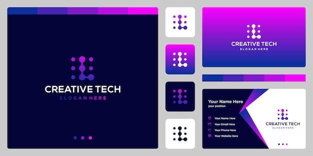 기술 스타일과 그라디언트 색상이 있는 문자 l. 명함.
