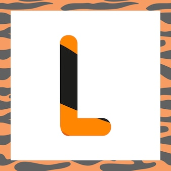 Letter l with tiger pattern festive font and frame from orange with black stripes alphabet symbol fo...