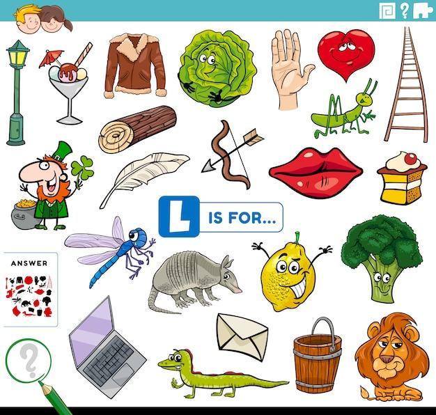Letter l words educational task for children