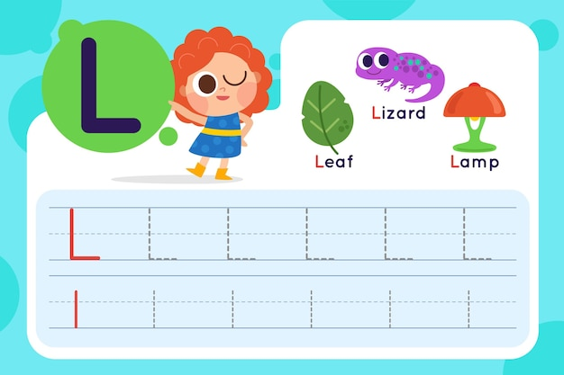 Letter l worksheet with leaf and lizard