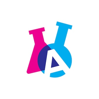 A letter lab laboratory glassware beaker logo vector icon illustration