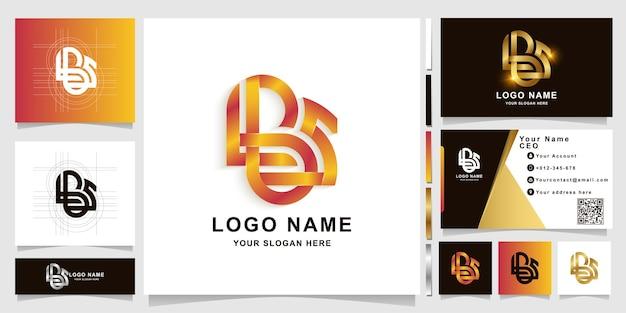 명함 디자인이 있는 편지 lbs 모노그램 로고 템플릿