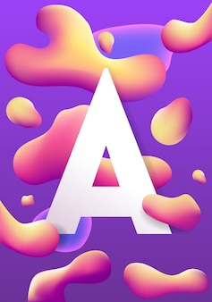 Letter a and liquid vector colorful shapes