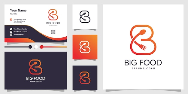 Letter logo b with spoon and fork concept for restaurant initial business premium vector