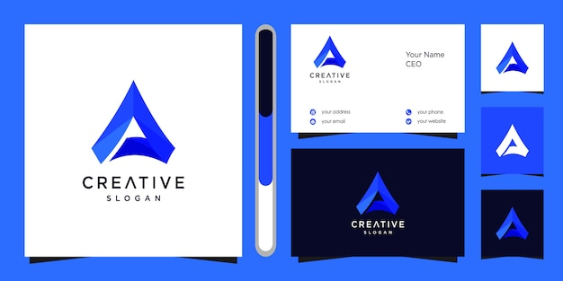 Letter a logo  and business card.