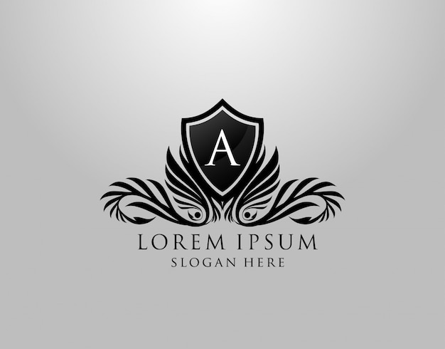 A letter logo. classic inital a royal shield design for royalty, letter stamp, boutique, lable, hotel, heraldic, jewelry, photography.