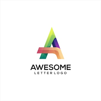 Letter a logo colorful gradient abstract