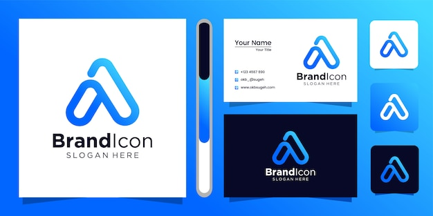 Letter a logo design and business card