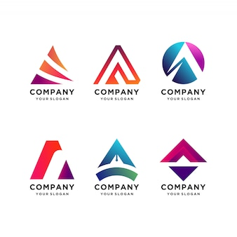 Letter a logo design collection, modern, gradient, abstract, letter