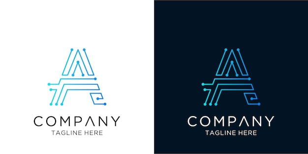 Letter a logo design corporate business technology in linear outline style