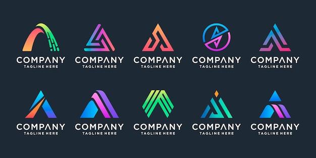 Letter a logo design template icons for business of luxury elegant technology digital data