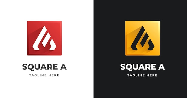 Letter a logo design template with square shape style
