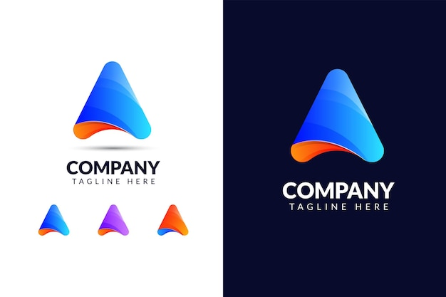 Letter a logo design template with triangle shape