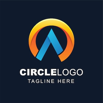 Letter a logo design with abstract circle shape
