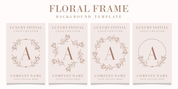 Letter a logo design with floral frame template