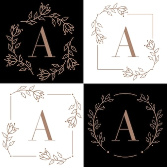 Letter a logo design with orchid leaf element