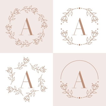 Letter a logo design with orchid leaf element