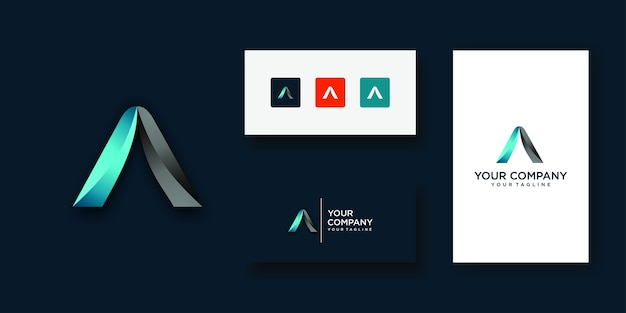 Letter a logo designs technology