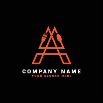A letter logo, a food letter logo, a spoon letter logo