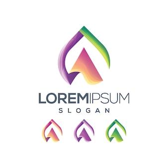 Letter a logo gradent colour