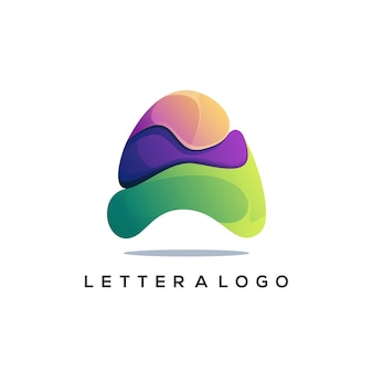 Letter a logo gradient abstract colorful illustration