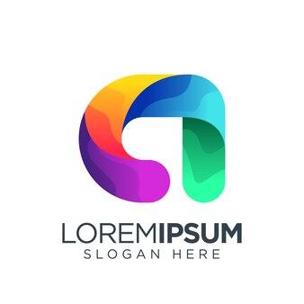 Letter a logo gradient