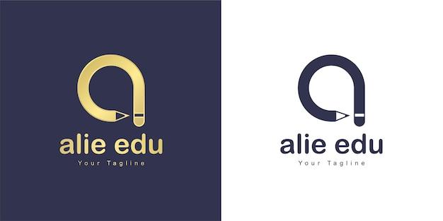 The letter a logo has a education concept