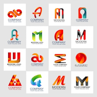 Letter logo set design template with abstract logo