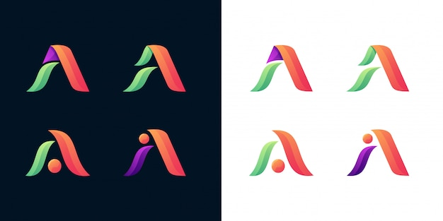 Letter a logo set vector template