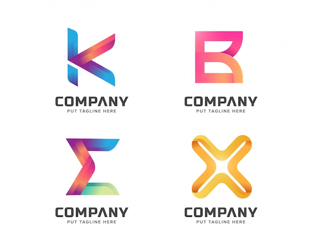 Letter logo template collection, abstract logotype for business company
