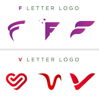 Letter logo template | f letter | v letter | vector logo template | unique logo design