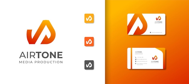 Letter a logo template with tone icon and business card design Premium Vector
