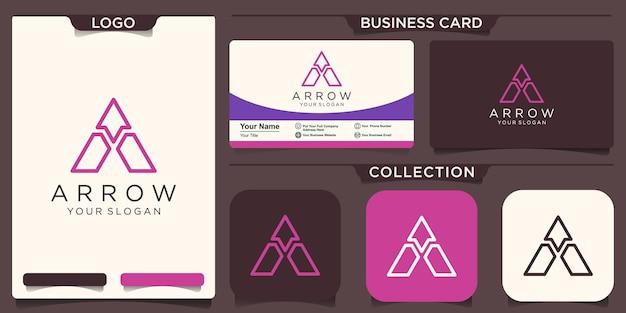 Letter a logo with arrow logo template illustration design