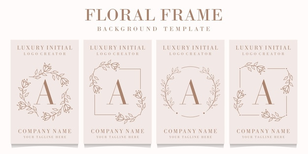 Letter a logo with floral frame template