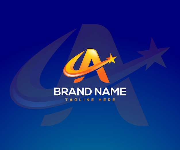 Letter a logo with a star symbol