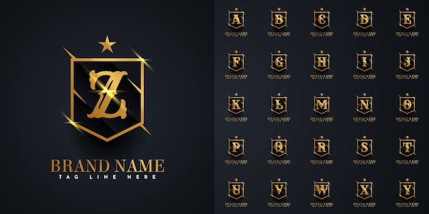 Letter logo a to z in gold shield illustration template