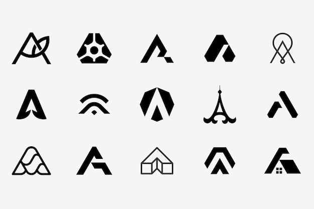 Letter a logotype set collection templat