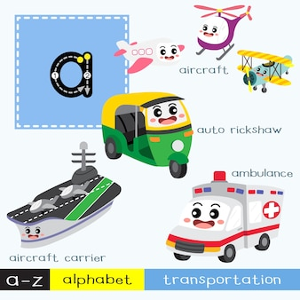 Letter a lowercase tracing transportations vocabulary