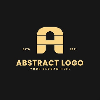 A letter luxurious gold geometric block concept logo vector icon illustration