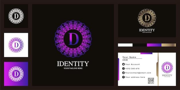 名刺と文字高級飾りフラワーフレームロゴテンプレートデザイン
