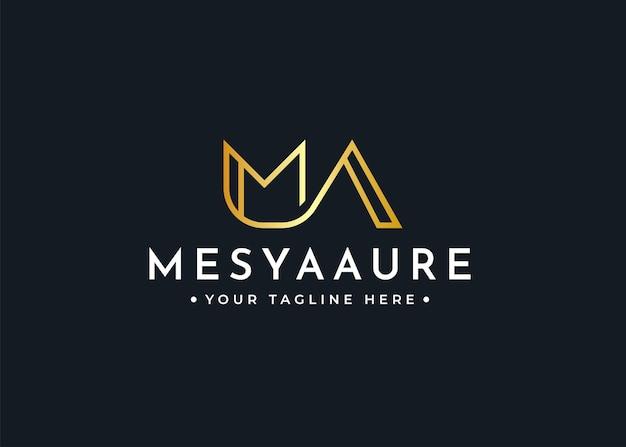 Письмо ma роскошный шаблон дизайна логотипа