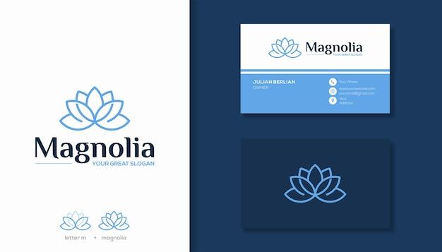 文字mとマグノリアの花のロゴの組み合わせシンプルなマグノリアのロゴデザイン